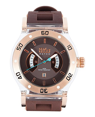 B360 WATCH Unisex Armbanduhr Large 5 bars Analog Quarz Silikon B CLASS TG BROWN CLEAR L