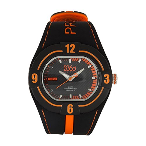 B360 WATCH Unisex Armbanduhr Large Analog Quarz Silikon B PROUD NEW BLACK ORANGE L