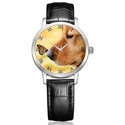 Uhren Herren Hohe Qualitaet armbanduhr Jungen Schwarz Leder Buegel niedlichen Hund und Schmetterling Tier Thema