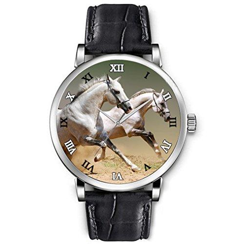 Uhren damen Hohe Qualitaet Armbanduhren Maedchen Schwarz echtes Leder Buegel weisses Pferd Tier schnell ausgefuehrt