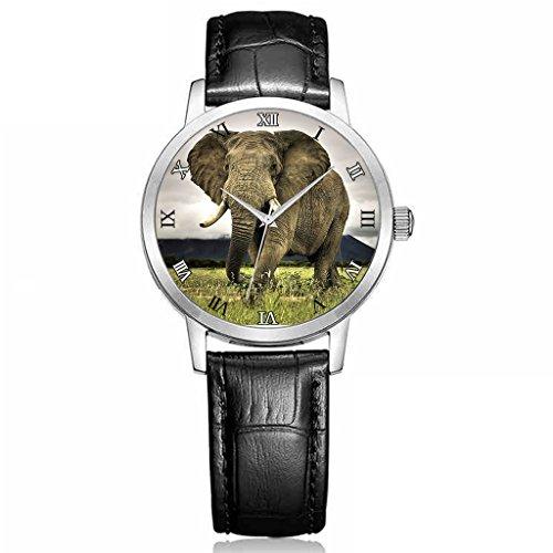 Uhren damen Hohe Qualitaet Armbanduhren Maedchen Schwarz echtes Leder Buegel alte Elefanten auf dem Rasen