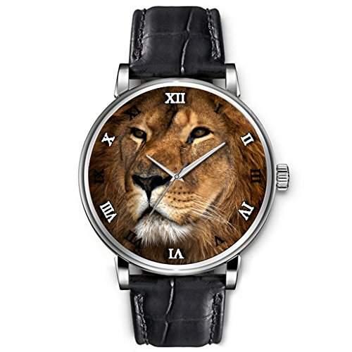 Uhren Herren, Hohe Qualitaet Armbanduhren Jungen Schwarz-echtes Leder-Buegel Cool aussehend Ansicht des Loewen