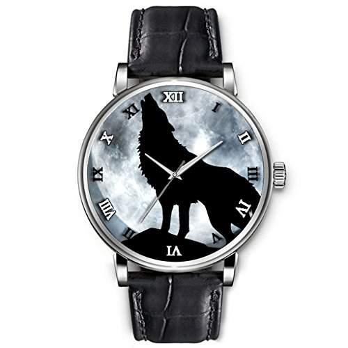 Uhren damen, Hohe Qualitaet Armbanduhr Maedchen Schwarz-echtes Leder-Buegel Cool schwarzen Wolf