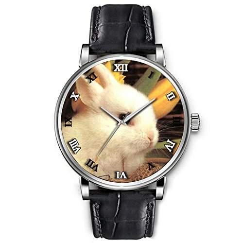 Uhren damen, Hohe Qualitaet Armbanduhr Maedchen Schwarz-echtes Leder-Buegel Kleine niedliche Katze im Cup