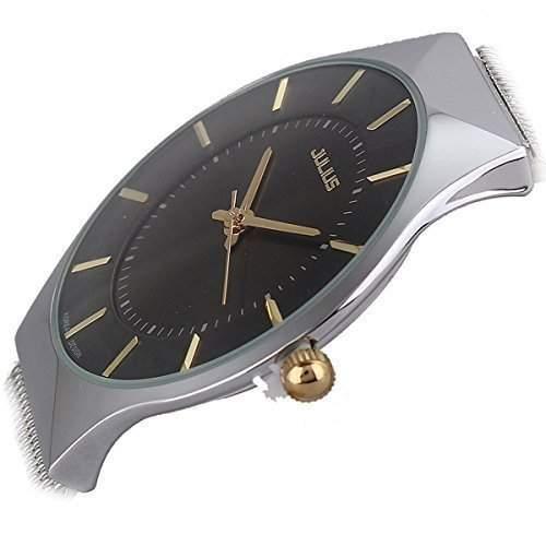 Ultra Thin-Quarz-Uhr elegante Armbanduhr Stilvolle Mesh-Armbanduhr weiss