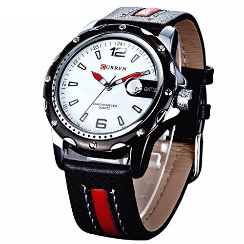 affute Herren Analog Quarz Armbanduhr mit Datumsanzeige Leder Gitarrengurt schwarz rot