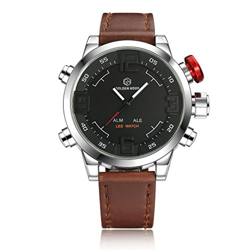 affute Herren LED Digital Quarz Armbanduhr Braun Leder Armbanduhr Wasserdicht Dual Time mit Datum Stoppuhr Alarm