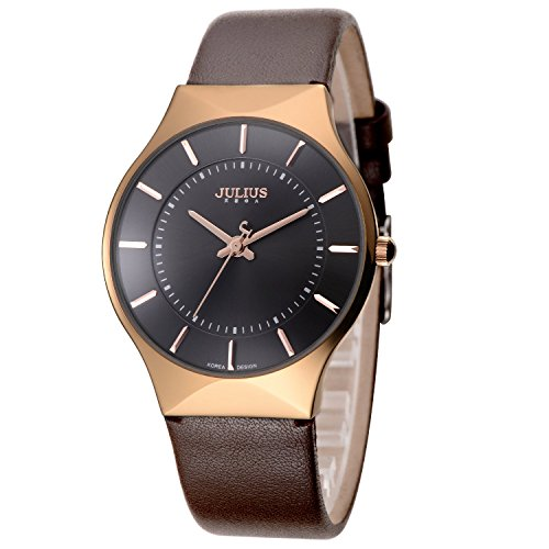 Affute Quartz Watch elegant Wristwatch stylish Leather black brown