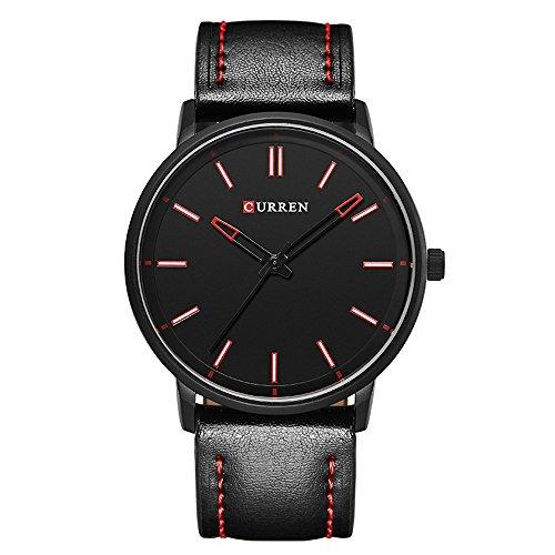 affute Herren Ultra Thin Fashion Armbanduhr mit schwarz Zifferblatt schwarz Leder Band