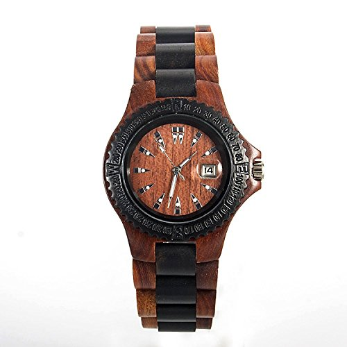 Affute Handmake Natural Red Sandalwood Wooden Watch for mens with Quartz Movement Date