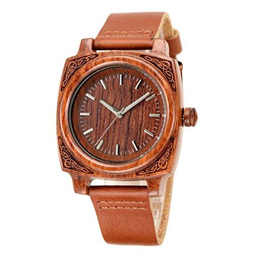 affute Herren Holz Armbanduhr mit Gurt aus echtem Leder Quarz Analog mit Hochwertiges Miyota Uhrwerk