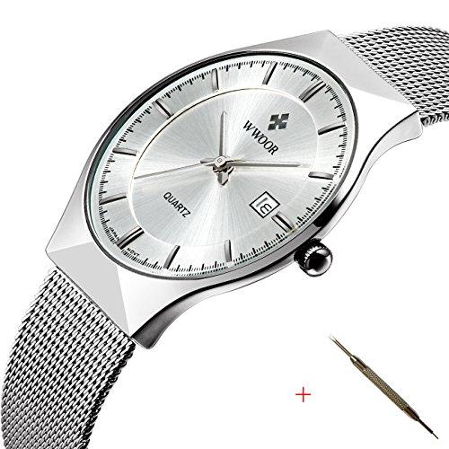 Affute Herren Armbanduhr japanisches Quarz Uhrwerk Armband mit Netztextur duennes Zifferblatt mit Datumsanzeige modisches Design Weiss