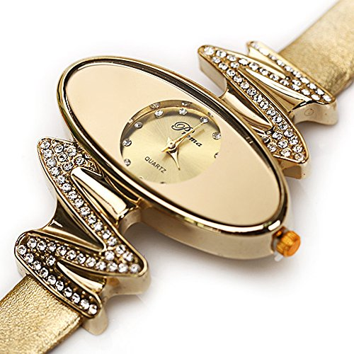 Affute Retro Gold Leather Strap Brand Women Watch Strass Rhinestone Jewelry Quartz Wrist Watches