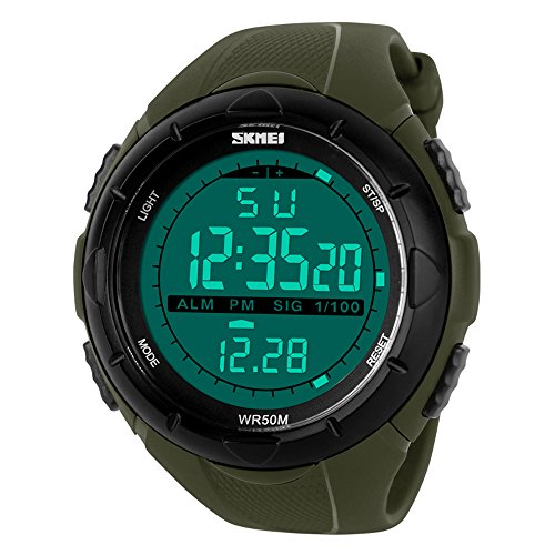 affute Herren Armbanduhr Uhren Digital Display wasserabweisend Multifunktions Sport Armbanduhr fuer Herren Gruen