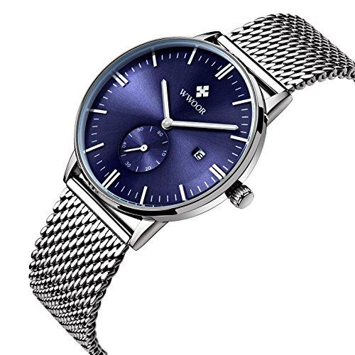affute Herren Armbanduhr silberfarbenes Edelstahl Quarz Uhrwerk mit Analog Display Mesh Band Blau