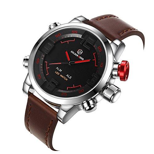 affute Luxus Marke Uhren Herren LED Digital Quarz Uhr Fashion Leder Wasserdicht Sportuhr Militaer Stil