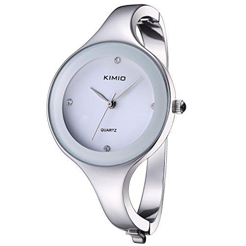 affute Bling Fashion Kristall elegant Frauen Lady Edelstahl Armband Quarz Uhren silber