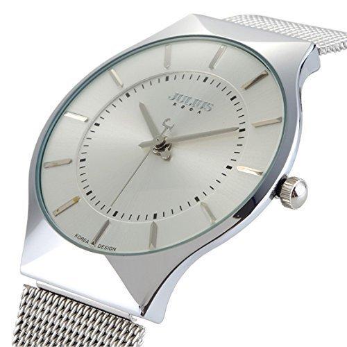 Ultra Thin Quarz Uhr elegante Armbanduhr Stilvolle Mesh Armbanduhr weiss