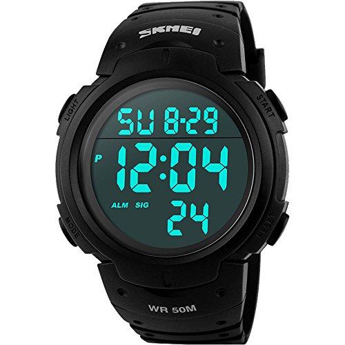 affute Unisex Outdoor Wasserdicht Bildschirm Digital LED Sport Handgelenk Uhren Stoppuhr Chronograph schwarz