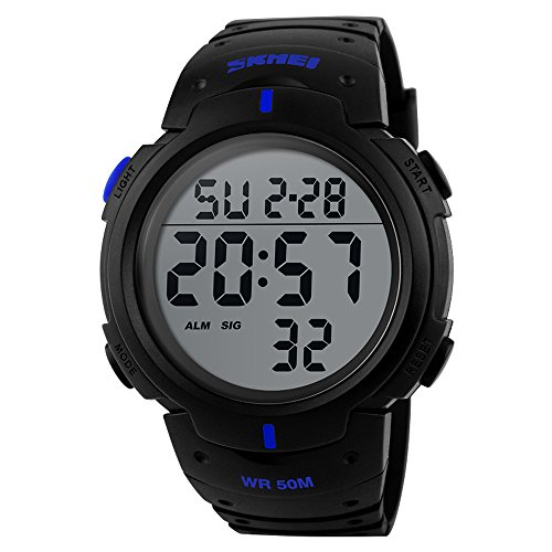 affute Unisex Outdoor Wasserdicht Bildschirm Digital LED Sport Handgelenk Uhren Stoppuhr Chronograph blau