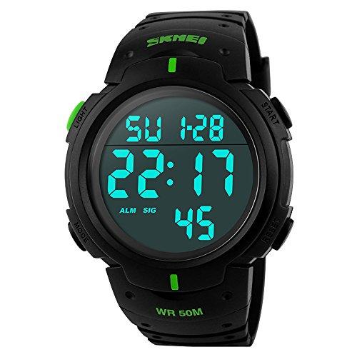 affute Unisex Outdoor Wasserdicht Bildschirm Digital LED Sport Handgelenk Uhren Stoppuhr Chronograph gruen