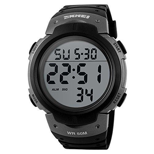 affute Unisex Outdoor Wasserdicht Bildschirm Digital LED Sport Handgelenk Uhren Stoppuhr Chronograph grau