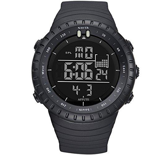 affute 50 m Wasserdicht Outdoor Sports Digitale LED Uhr fuer Maenner Frauen mit Rubber Strap Schwarz Schwarz