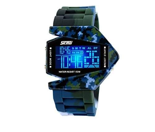 Milit?r LED Digital Unisex Armbanduhr Sportuhr Damenuhr Herrenuhr Damen Herren Sport Uhren Fliegeruhr Geschink Silikon Blau