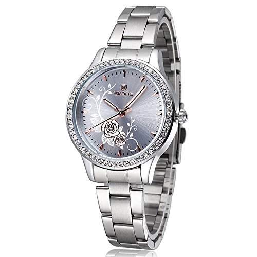Armbanduhr Damenuhr Damen Uhr Analog Geschink Strass watch gift silber Silber