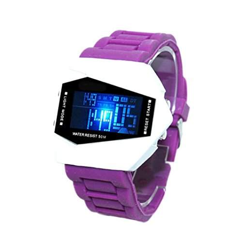 LED Digital Armbanduhr Damenuhr Herrenuhr Sportuhr Damen Herren Sport Uhren Geschink Fliegeruhr Milit?r Silikon lila