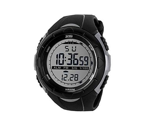 LED Armbanduhr Herrenuhr Sportuhr Herren Sport Uhren Geschink Digital Schwarz silber watch Gummi