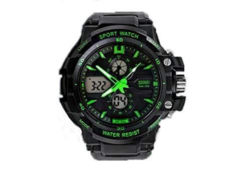 Mode LED Digital Analog Armbanduhr Sportuhren Herrenuhr Herren Sport Uhren Beleuchtung gr¨¹n