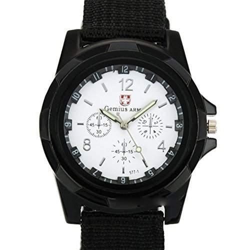DragonPad Herren Sport Uhren Armbanduhren Herrenuhr Sportuhr Wrist Watch Nylon Schwarz weiss