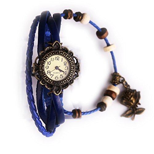 Damen Maedchen Uhren Armbanduhr Armbandkette Armbandreif geflochten Blume Dunkelblau