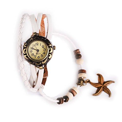 Damen Maedchen Uhren Armbanduhr Armbandkette Armbandreif geflochten Seestern Weiss
