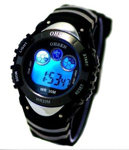 DragonPad Unisex LED Herren Sport Uhren Armbanduhren Sportuhr Digital Silikon Wrist Watch schwarz 7 Farbe Beleuchtung