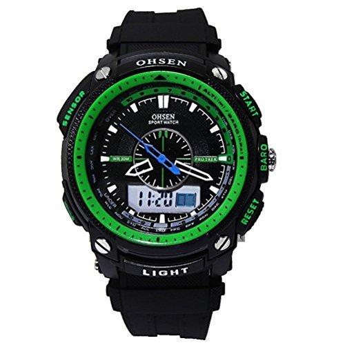 DragonPad Cool Design LED Herren Sport Uhren Armbanduhren Sportuhr Analog Digital Wrist Watch schwarz Gruen Gummi