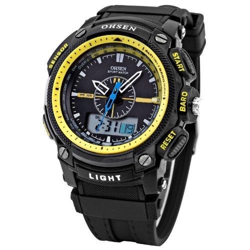 DragonPad Cool Design Herren Sport Uhren Armbanduhren Sportuhr Analog Digital Wrist Watch schwarz Gelb Gummi