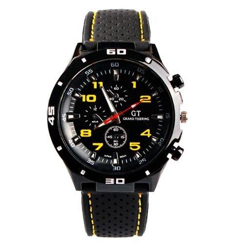 DragonPad Mode Herren Sport Uhren Armbanduhren Sportuhr Analog PU Leder Wrist Watch schwarz gelb