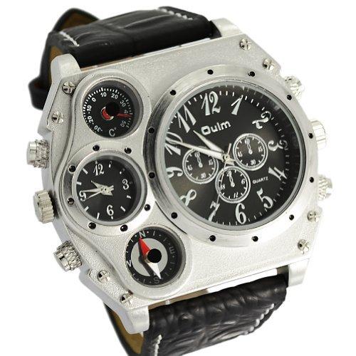 DragonPad Herren Sport Uhren Armbanduhren Sportuhr Analog Wrist Watch Schwarz PU Leder silber