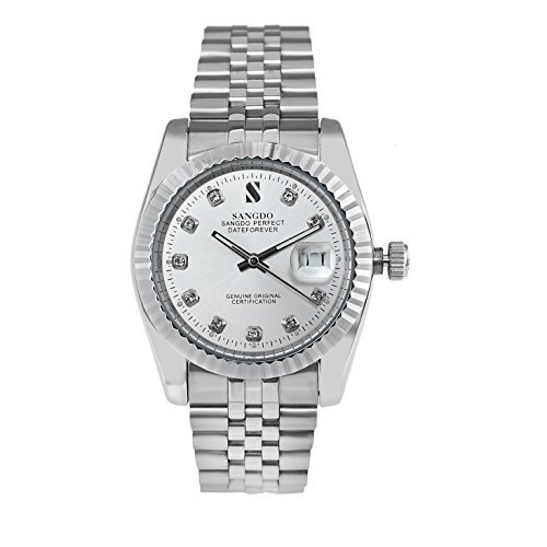 DragonPad Mens with Diamond Round Silver Stainless Steel Automatic Mechanical Watches