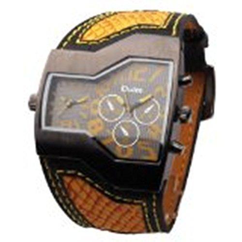 DragonPad Cool Herren Sport Uhren Armbanduhren Sportuhr Analog Wrist Watch PU Leder braun