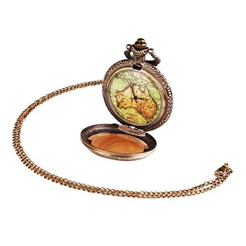 DragonPad Damen Taschenuhr Uhr mit Kette Kettenuhr Umhaengeuhr Halskette Landkarte Golden