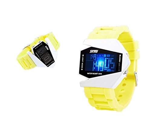 LED Armbanduhr Damenuhr Herrenuhr Sportuhr Damen Herren Sport Uhren Geschink Fliegeruhr Digital Silikon gelb