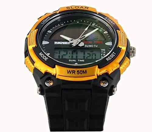 LED Armbanduhr Herrenuhr Sportuhr Herren Sport Uhren Analog Digital Geschink Gummi Schwarz golden