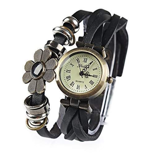 DragonPad suess Analog Damen Uhren Armbanduhr Damenuhr Quarz PU Leder Blumen geflochten Geschink