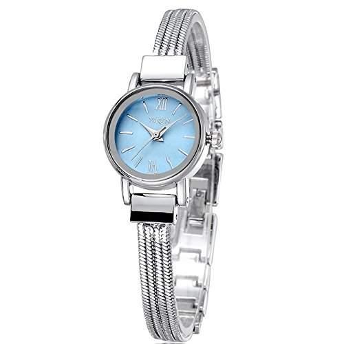 Schick Armbanduhr Damenuhr Damen Uhr Analog Geschink watch gift silber Blau