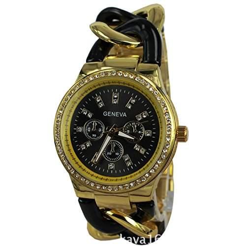 Armbanduhr Damenuhr Damen Uhr Analog Geschink geflochten watch gift schwarz