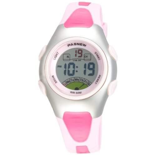 DragonPad LED Digital Damen Kinder Sport Uhren Armbanduhr Damenuhr Kinderuhr Sportuhr wasserdicht Gummi Pink