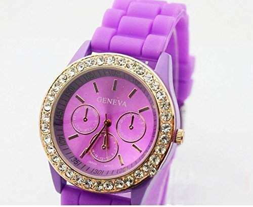 DragonPad Fashion Damen Sport Uhren Armbanduhr Damenuhr Sportuhr Geschink Analog Strass Lila